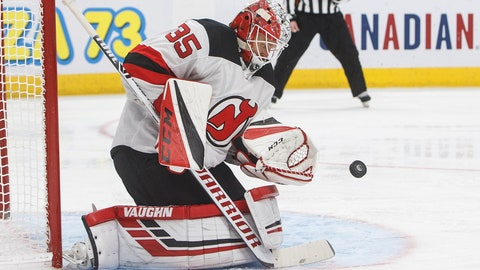 <p>               FILE - In this Nov. 8, 2019, file photo, New Jersey Devils' goalie Cory Schneider (35) makes a save during the second period of an NHL hockey game against the New Jersey Devils on Friday, Nov. 8, 2019, in Edmonton, Alberta. Veteran goaltender Schneider, who has been one of the main faces for the Devils' organization in recent years, has been placed on waivers. (Jason Franson/The Canadian Press via AP, File)             </p>