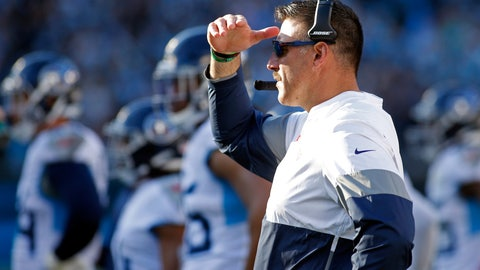 <p>               Tennessee Titans head coach Mike Vrabel looks on during the second half of an NFL football game against the Carolina Panthers in Charlotte, N.C., Sunday, Nov. 3, 2019. (AP Photo/Brian Blanco)             </p>