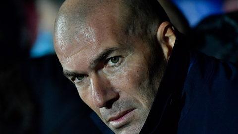 <p>               Real Madrid's head coach Zinedine Zidane looks on before the Spanish La Liga soccer match between Eibar and Real Madrid at Ipurua stadium, in Eibar, northern Spain, Saturday, Nov. 9, 2019. (AP Photo/Alvaro Barrientos)             </p>