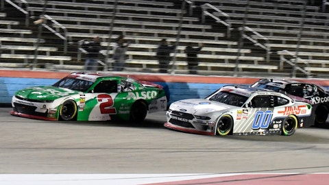 <p>               Tyler Reddick (2) and Cole Custer (00) head into the front stretch during the NASCAR Xfinity Series auto race at Texas Motor Speedway in Fort Worth, Texas, Saturday, Nov. 2, 2019. (AP Photo/Randy Holt)             </p>