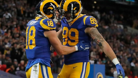 <p>               Los Angeles Rams wide receiver Cooper Kupp (18) congratulated by tight end Tyler Higbee (89) after scoring against the Cincinnati Bengals during the first half of an NFL football game, Sunday, Oct. 27, 2019, at Wembley Stadium in London. (AP Photo/Frank Augstein)             </p>