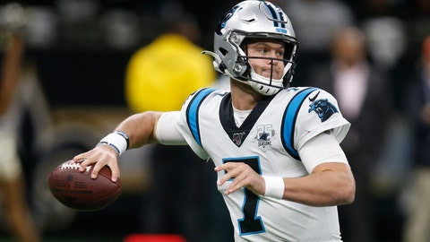 <p>               Carolina Panthers quarterback Kyle Allen (7) looks to pass, during the first half at an NFL football game against the New Orleans Saints, Sunday, Nov. 24, 2019, in New Orleans. (AP Photo/Butch Dill)             </p>