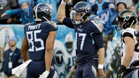 <p>               Tennessee Titans quarterback Ryan Tannehill (17) celebrates with tight end MyCole Pruitt (85) after Tannehill ran for a touchdown against the Jacksonville Jaguars in the first half of an NFL football game Sunday, Nov. 24, 2019, in Nashville, Tenn. (AP Photo/James Kenney)             </p>