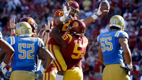 <p>               Southern California running back Vavae Malepeai (29) celebrates his rushing touchdown with linebacker Bryce Matthews (53) during the first half of an NCAA college football game against UCLA, Saturday, Nov. 23, 2019, in Los Angeles. (AP Photo/Marcio Jose Sanchez)             </p>