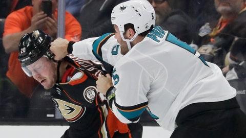 <p>               San Jose Sharks defenseman Dalton Prout, right, hits Anaheim Ducks left wing Nicolas Deslauriers during the first period of an NHL hockey game in Anaheim, Calif., Thursday, Nov. 14, 2019. (AP Photo/Chris Carlson)             </p>