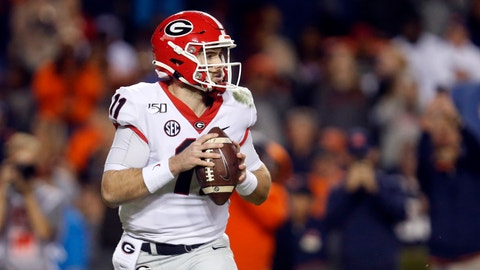 <p>               Georgia quarterback Jake Fromm (11) looks to pass during the second half of an NCAA college football game against Auburn, Saturday, Nov. 16, 2019, in Auburn, Ala. (AP Photo/Butch Dill)             </p>