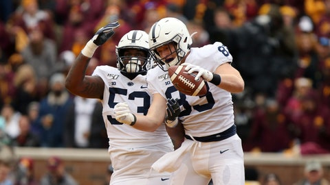 <p>               Penn State tight end Nick Bowers (83) celebrates with teammate offensive lineman Rasheed Walker (53) after Bowers scored a touchdown during an NCAA college football game against Minnesota, Saturday, Nov. 9, 2019, in Minneapolis. Minnesota won 31-26. (AP Photo/Stacy Bengs)             </p>