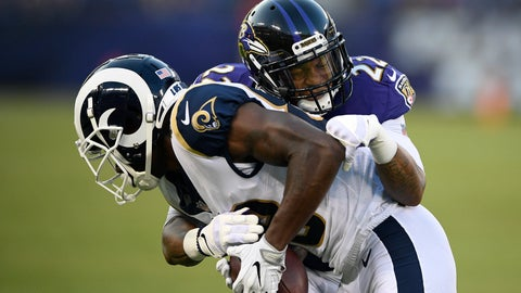 <p>               FILE - In this Aug. 9, 2018, file photo, Baltimore Ravens defensive back Jimmy Smith (22) tackles Los Angeles Rams wide receiver Mike Thomas in the first half of a preseason NFL football game, in Baltimore. Back in action after yet another injury, Ravens cornerback Jimmy Smith hopes to be an integral part of the Baltimore defense over the final half of the season. (AP Photo/Nick Wass, File)             </p>