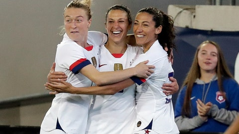 <p>               U.S. forward Carli Lloyd, center, celebrates her goal against the Costa Rica with Emily Sonnett, left, and Christen Press during the first half of an international friendly soccer match Sunday, Nov. 10, 2019, in Jacksonville, Fla. (AP Photo/John Raoux)             </p>