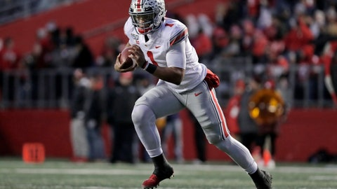 <p>               Ohio State quarterback Justin Fields (1) rushes against Rutgers during the first half of an NCAA college football game Saturday, Nov. 16, 2019, in Piscataway, N.J. (AP Photo/Adam Hunger)             </p>
