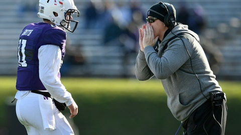 <p>               Northwestern head coach Pat Fitzgerald, right, yells to quarterback Aidan Smith (11) during the second half of an NCAA college football game against Purdue, Saturday, Nov. 9, 2019, in Evanston, Ill. Purdue won 24-22. (AP Photo/Paul Beaty)             </p>