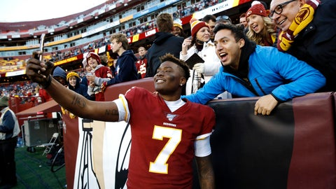 <p>               Washington Redskins quarterback Dwayne Haskins takes selfies with fans during the second half of an NFL football game against the Detroit Lions, Sunday, Nov. 24, 2019, in Landover, Md. The Redskins won 19-16. (AP Photo/Patrick Semansky)             </p>