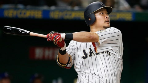 <p>               FILE - In this March 7, 2017, file photo, Japan's Yoshitomo Tsutsugo hits a two-run shot against Cuba's pitcher Jonder Martinez in the seventh inning of their first round game of the World Baseball Classic at Tokyo Dome in Tokyo. Tsutsugo has been made available to major league teams through the posting process by Yokohaha of Japan's Central League. Major league clubs have until 5 p.m. EST on Dec. 19, 2019, to bid for Tsutsugo, who turns 28 on Nov. 26. (AP Photo/Shizuo Kambayashi, File)             </p>