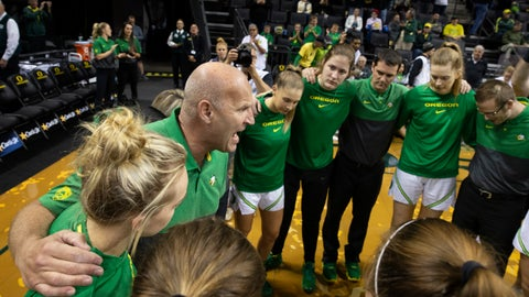 <p>               Oregon head coach Kelly Graves, center left, brings his team together before an NCAA college basketball game against Northeastern in Eugene, Ore., Monday, Nov. 11, 2019. (AP Photo/Chris Pietsch)             </p>