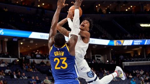 <p>               Memphis Grizzlies guard Ja Morant shoots as Golden State Warriors forward Draymond Green (23) defends during the second half of an NBA basketball game Tuesday, Nov. 19, 2019, in Memphis, Tenn. (AP Photo/Brandon Dill)             </p>