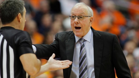<p>               Syracuse head coach Jim Boeheim, right, yells at an official during the second half of an NCAA college basketball game against Virginia in Syracuse, N.Y., Wednesday, Nov. 6, 2019. Virginia won 48-34. (AP Photo/Nick Lisi)             </p>