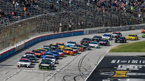 <p>               Kevin Harvick (4) leads the field for the start of a NASCAR auto race at Texas Motor Speedway, Sunday, Nov. 3, 2019, in Fort Worth, Texas. (AP Photo/Larry Papke)             </p>