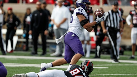 <p>               TCU's Wyatt Harris (25) intercepts a pass over Texas Tech's Erik Ezukanma (84) during the first half of an NCAA college football game Saturday, Nov. 16, 2019, in Lubbock, Texas. (Brad Tollefson/Lubbock Avalanche-Journal via AP)             </p>