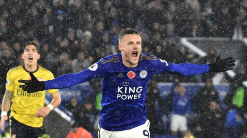 <p>               Leicester's Jamie Vardy celebrates after scoring the opening goal during the English Premier League soccer match between Leicester City and Arsenal at the King Power Stadium in Leicester, England, Saturday, Nov. 9, 2019. (AP Photo/Rui Vieira)             </p>