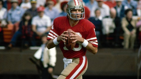 <p>               FILE - This is a 1981 file photo showing San Francisco 49ers NFL football quarterback Joe Montana. The 49ers ruled most of the 1980s by winning Super Bowls after the 1981, '84, '88 and '89 seasons. (AP Photo/File)             </p>