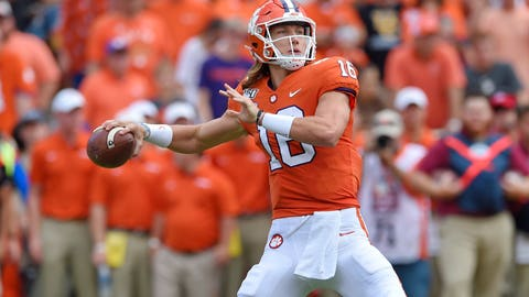 <p>               FILE - In this Oct. 12, 2019, file photo, Clemson's Trevor Lawrence throws a pass during the first half of an NCAA college football game against Florida State, in Clemson, S.C. Lawrence has not thrown an interception in his last four games to go with 13 touchdown passes. (AP Photo/Richard Shiro, File)             </p>