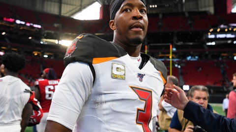 <p>               Tampa Bay Buccaneers quarterback Jameis Winston (3) leaves the field after an NFL football game against the Atlanta Falcons, Sunday, Nov. 24, 2019, in Atlanta. The Tampa Bay Buccaneers won 35-22. (AP Photo/John Amis)             </p>