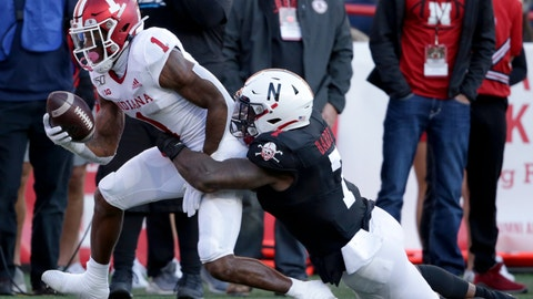 <p>               Indiana wide receiver Whop Philyor (1) is tackled by Nebraska linebacker Mohamed Barry (7) during the second half of an NCAA college football game in Lincoln, Neb., Saturday, Oct. 26, 2019. Indiana won 38-31. (AP Photo/Nati Harnik)             </p>