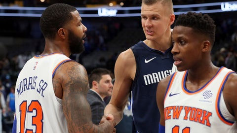 <p>               New York Knicks forward Marcus Morris (13) shakes hands with Dallas Mavericks forward Kristaps Porzingis (6) after NBA basketball game Friday, Nov. 8, 2019, in Dallas. (AP Photo/Richard W. Rodriguez)             </p>