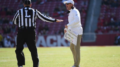 <p>               Arkansas coach Chad Morris talks with an official while playing Western Kentucky during the second half of an NCAA college football game, Saturday, Nov. 9, 2019 in Fayetteville, Ark. (AP Photo/Michael Woods)             </p>