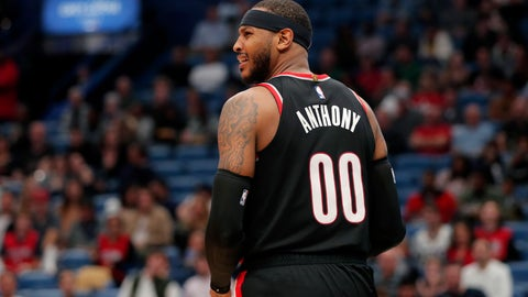 <p>               Portland Trail Blazers forward Carmelo Anthony (00) looks to a few for a foul after driving to the basket in the second half of an NBA basketball game against the New Orleans Pelicans in New Orleans, Tuesday, Nov. 19, 2019. The Pelicans won 115-104. (AP Photo/Gerald Herbert)             </p>