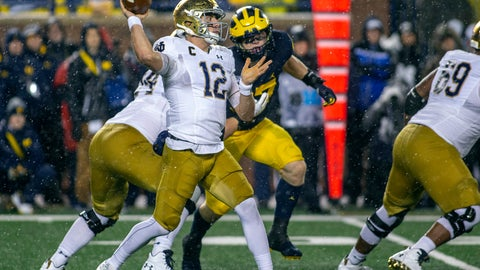 <p>               Notre Dame quarterback Ian Book (12) throws a pass in the first quarter of an NCAA college football game against Michigan in Ann Arbor, Mich., Saturday, Oct. 26, 2019. (AP Photo/Tony Ding)             </p>