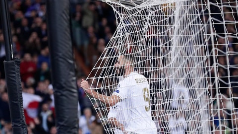 <p>               Real Madrid's Karim Benzema celebrates after scoring his side's fifth goal during a Champions League group A soccer match between Real Madrid and Galatasaray at the Santiago Bernabeu stadium in Madrid, Spain, Wednesday, Nov. 6, 2019. (AP Photo/Manu Fernandez)             </p>