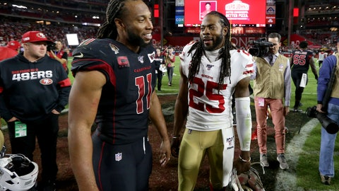 <p>               Arizona Cardinals wide receiver Larry Fitzgerald (11) greets San Francisco 49ers cornerback Richard Sherman (25) after an NFL football game, Thursday, Oct. 31, 2019, in Glendale, Ariz. The 49ers won 28-25. (AP Photo/Ross D. Franklin)             </p>