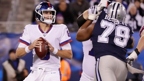 <p>               New York Giants quarterback Daniel Jones (8) looks to pass against the Dallas Cowboys during the first quarter of an NFL football game, Monday, Nov. 4, 2019, in East Rutherford, N.J. (AP Photo/Adam Hunger)             </p>