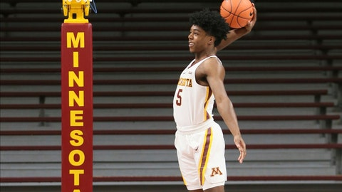 <p>               In this Oct. 18, 2019 photo, Minnesota guard Marcus Carr poses for a photo shoot during Minnesota's NCAA college basketball media day in Minneapolis. Carr, who played last season for Pittsburgh, is one of three transfers to Minnesota eligible to play this season as Minnesota must replace its two best players in Jordan Murphy and Amir Coffey. (AP Photo/Jim Mone)             </p>