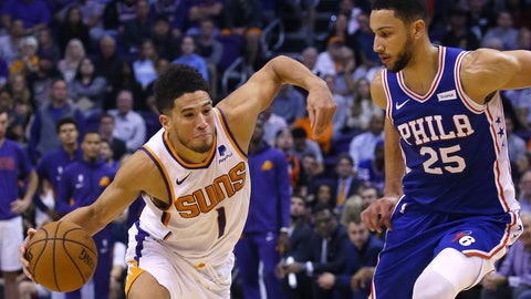 <p>               Phoenix Suns guard Devin Booker (1) drives past Philadelphia 76ers guard Ben Simmons (25) during the second half of an NBA basketball game, Monday, Nov. 4, 2019, in Phoenix. The Suns defeated the 76ers 114-109. (AP Photo/Ross D. Franklin)             </p>
