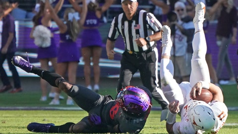 <p>               TCU safety Innis Gaines (6) upends Texas quarterback Sam Ehlinger (11) in the second half of an NCAA college football game in Fort Worth, Texas, Saturday, Oct. 26, 2019. (AP Photo/Louis DeLuca)             </p>