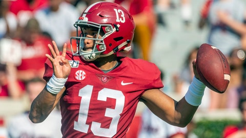 <p>               FILE - In this Sept. 7, 2019, file photo, Alabama quarterback Tua Tagovailoa (13) looks to throw during the first half of an NCAA college football game against New Mexico State, in Tuscaloosa, Ala. For the first time in college football history, there will be two games matching teams of at least 8-0 on the same day, according to ESPN Facts and Info. In Tuscaloosa, Alabama, LSU and the Crimson Tide will play the first regular-season game matching AP Nos. 1 and 2 since 2011 _ when No. 1 LSU beat No. 2 Alabama 9-6 in overtime. (AP Photo/Vasha Hunt, File)             </p>