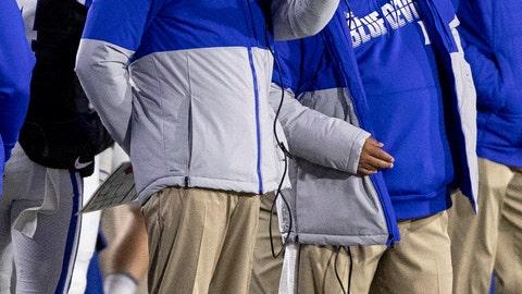 <p>               Duke Head Coach David Cutcliffe, left, speaks to an assistant during an NCAA college football game against Syracuse in Durham, N.C., Saturday, Nov. 16, 2019. (AP Photo/Ben McKeown)             </p>