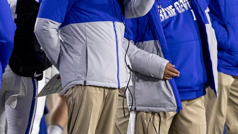 <p>               Duke Head Coach David Cutcliffe, left, speaks to an assistant during an NCAA college football game against Syracuse in Durham, N.C., Saturday, Nov. 16, 2019. (AP Photo/Ben McKeown)             </p>