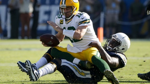 <p>               Green Bay Packers quarterback Aaron Rodgers is sacked by Los Angeles Chargers defensive end Melvin Ingram during the first half of an NFL football game Sunday, Nov. 3, 2019, in Carson, Calif. (AP Photo/Marcio Jose Sanchez)             </p>