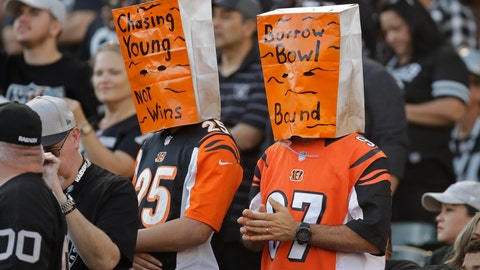 <p>               Cincinnati Bengals fans wears paper bags on their heads during the second half of an NFL football game against the Oakland Raiders in Oakland, Calif., Sunday, Nov. 17, 2019. (AP Photo/Ben Margot)             </p>