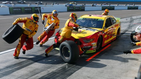 <p>               Joey Logano makes a pit stop during the NASCAR Cup Series auto race Sunday, Nov. 10, 2019, in Avondale, Ariz. (AP Photo/Ralph Freso)             </p>
