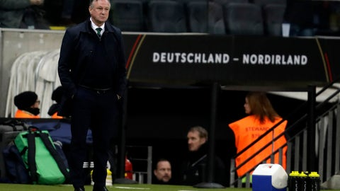 <p>               Northern Ireland's coach Michael O'Neill is seen during the Group C soccer qualifying match between Germany and Northern Ireland at the Commerzbank Arena in Frankfurt, Germany, Tuesday, Nov. 19, 2019. (AP Photo/Michael Probst)             </p>