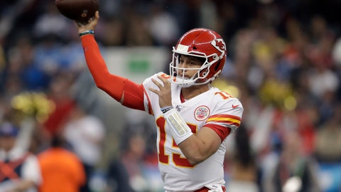 <p>               Kansas City Chiefs quarterback Patrick Mahomes throws a pass during the first half of an NFL football game against the Los Angeles Chargers, Monday, Nov. 18, 2019, in Mexico City. (AP Photo/Marcio Jose Sanchez)             </p>