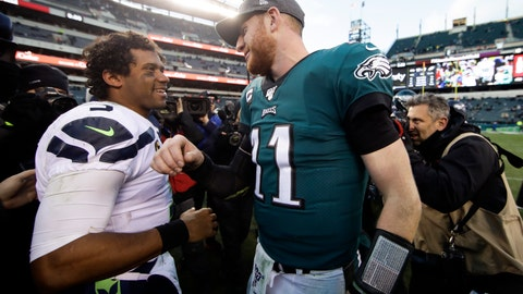<p>               Seattle Seahawks' Russell Wilson, left, and Philadelphia Eagles' Carson Wentz meet after an NFL football game, Sunday, Nov. 24, 2019, in Philadelphia. Seattle won 17-9. (AP Photo/Matt Rourke)             </p>