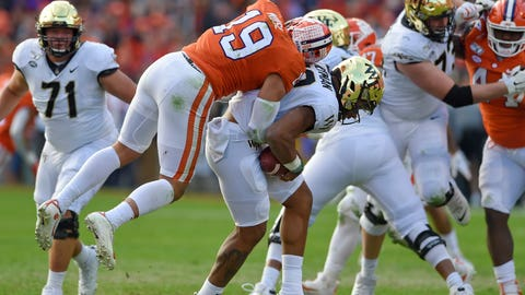 <p>               Clemson's Tanner Muse (19) sacks Wake Forest quarterback Jamie Newman during the first half of an NCAA college football game Saturday, Nov. 16, 2019, in Clemson, S.C. (AP Photo/Richard Shiro)             </p>