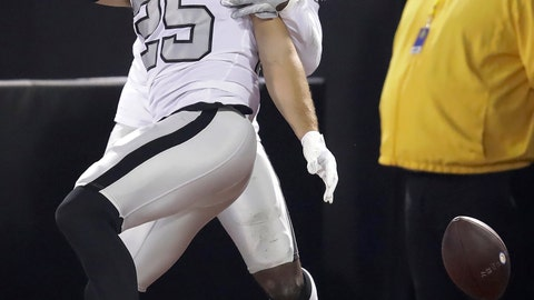 <p>               Oakland Raiders free safety Erik Harris (25) celebrates with Karl Joseph after scoring on an interception return against the Los Angeles Chargers during the first half of an NFL football game in Oakland, Calif., Thursday, Nov. 7, 2019. (AP Photo/Ben Margot)             </p>