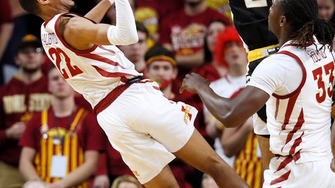 <p>               Iowa State guard Tyrese Haliburton, left, is fouled by Southern Mississippi guard Auston Leslie (21) during the second half of an NCAA college basketball game, Tuesday, Nov. 19, 2019, in Ames, Iowa. Iowa State won 73-45. (AP Photo/Charlie Neibergall)             </p>