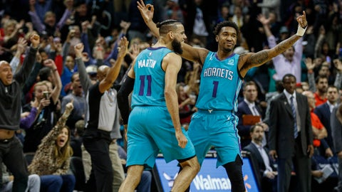 <p>               Charlotte Hornets guard Malik Monk, right, celebrates with Cody Martin after Monk hit the game-winning 3-pointer as time expired in an NBA basketball game in Charlotte, N.C., Friday, Nov. 15, 2019. Charlotte won 109-106. (AP Photo/Nell Redmond)             </p>